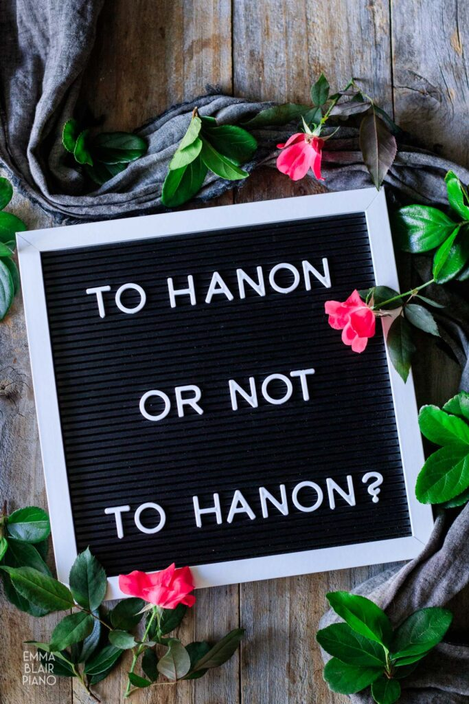 """letterboard with a message saying """"to Hanon or not to Hanon"""""""