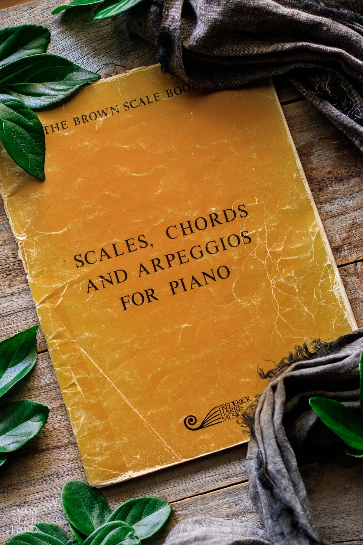 brown book of scales with gray linen and leaves