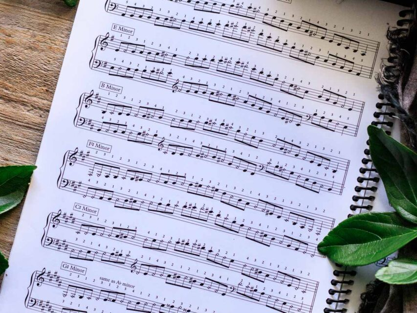 sheet music for six of the minor scales