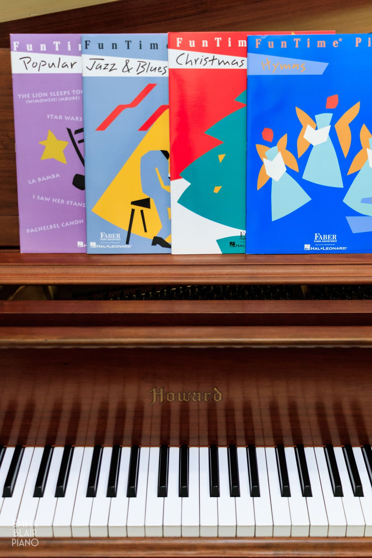 Faber & Faber supplementary books on a piano music stand